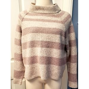 Free People Cropped Wool Linen Ribbed Mock Sweater